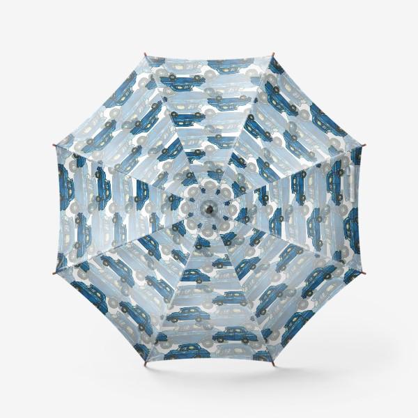 Зонт «Авто тачки машины синий паттерн »