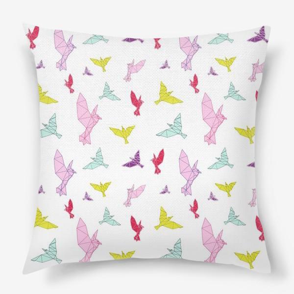 Подушка «Птицы геометрия ярко »