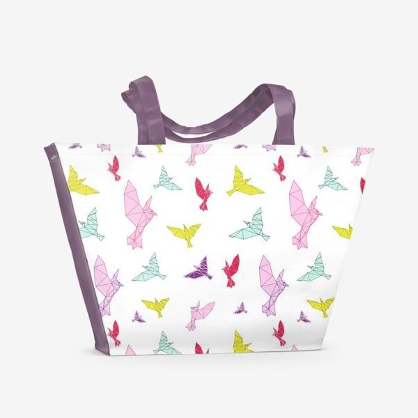 Пляжная сумка «Птицы геометрия ярко »