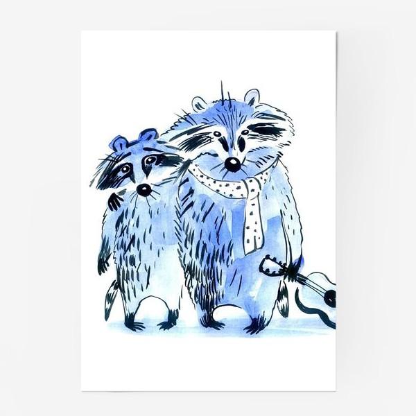 Постер «friends the raccoons musicians»