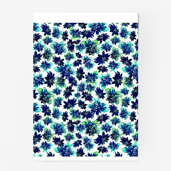 Постер «Flowers Цветы паттерн синий зеленый бирюза »