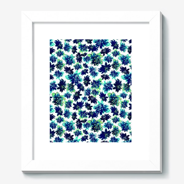 Картина «Flowers Цветы паттерн синий зеленый бирюза »