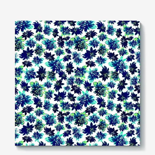 Холст «Flowers Цветы паттерн синий зеленый бирюза »