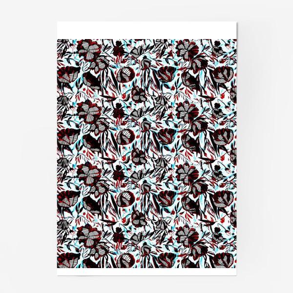 Постер «Цветы паттерн голубой розовый белый черный»