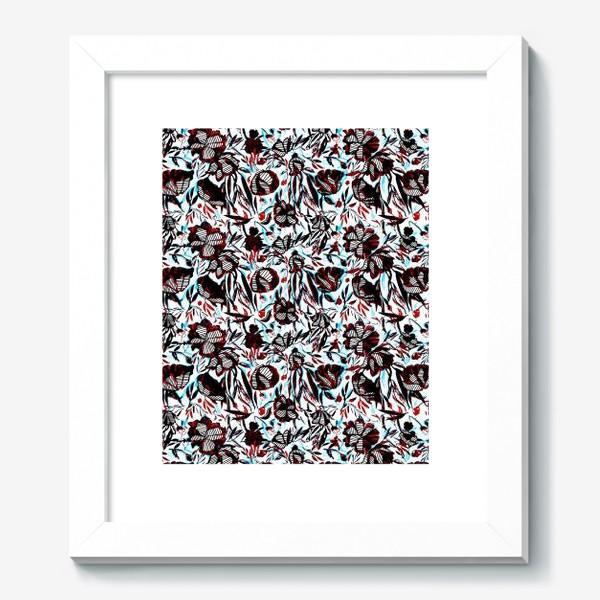 Картина «Цветы паттерн голубой розовый белый черный»