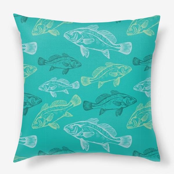 Подушка «Морские рыбы в бирюзе»