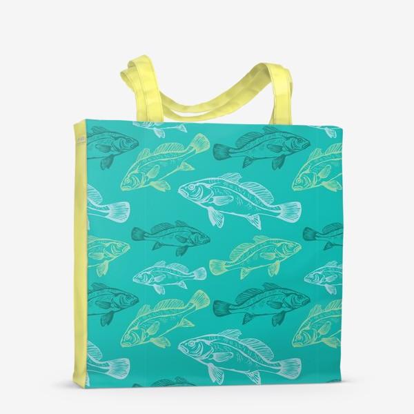Сумка-шоппер «Морские рыбы в бирюзе»