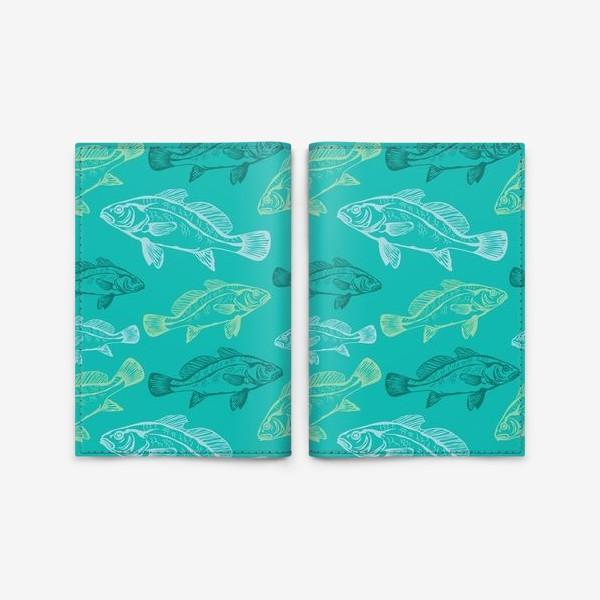 Обложка для паспорта «Морские рыбы в бирюзе»
