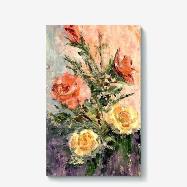 Холст «Розы в стиле импрессионистов, масло, холст»