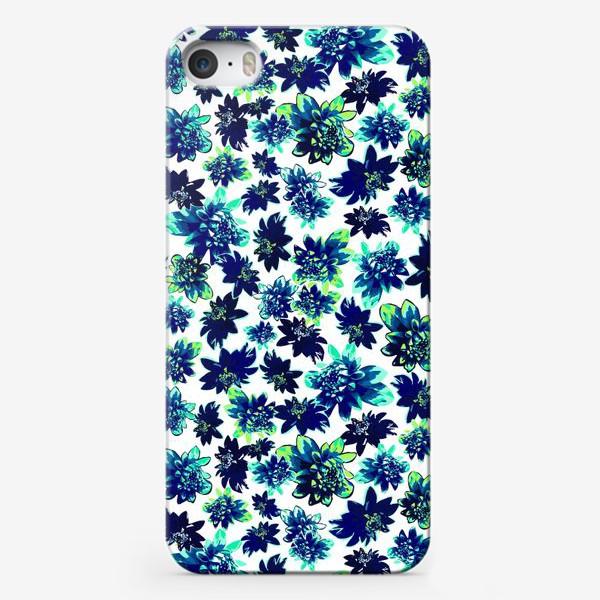 Чехол iPhone «Flowers Цветы паттерн синий зеленый бирюза »