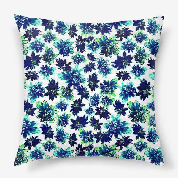 Подушка «Flowers Цветы паттерн синий зеленый бирюза »