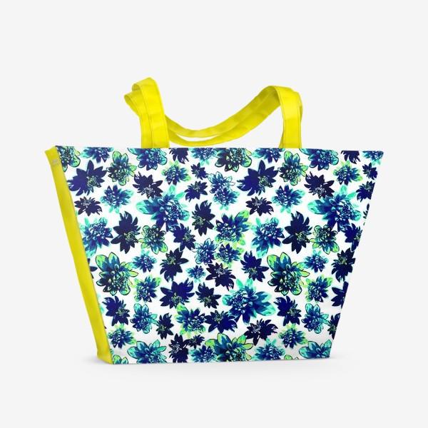 Пляжная сумка «Flowers Цветы паттерн синий зеленый бирюза »