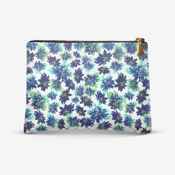 Косметичка «Flowers Цветы паттерн синий зеленый бирюза »