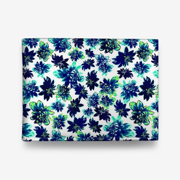 Кошелек «Flowers Цветы паттерн синий зеленый бирюза »