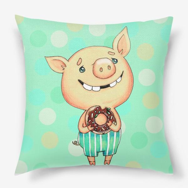 Подушка «Поросенок с пончиком»