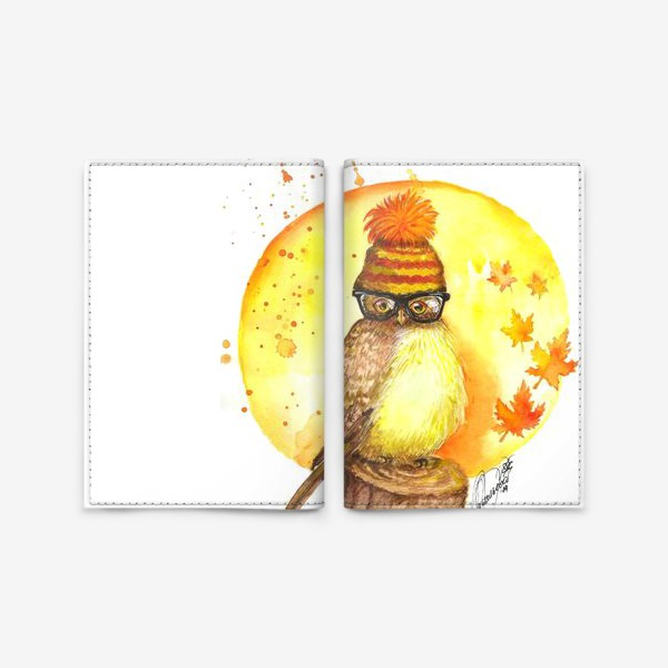 Обложка для паспорта «Сова хипстер»
