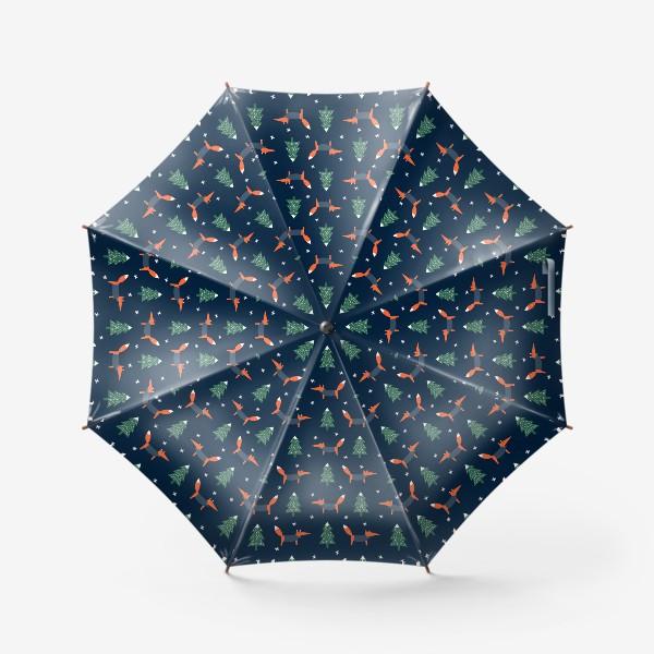 Зонт «лис в зимнем лесу»