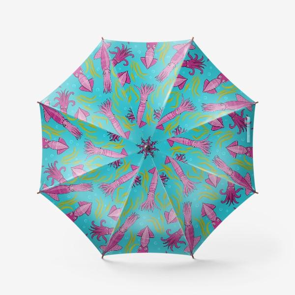 Зонт «Сиренево-розовые кальмары с орнаментом на фоне моря. Кальмаро-паттерн.»