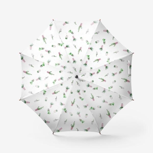 Зонт «Кактусы на белом»