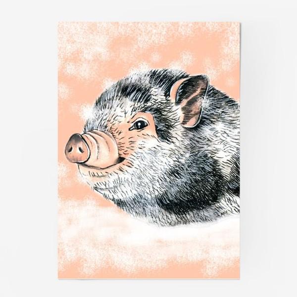 Постер «Поросенок Хрюша Свинья Новый год 2019»