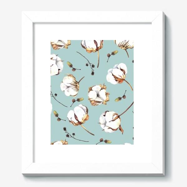 Картина «Нежный акварельный паттерн с цветами хлопка»