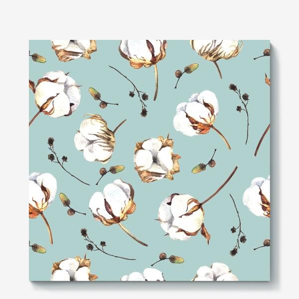 Холст «Нежный акварельный паттерн с цветами хлопка»