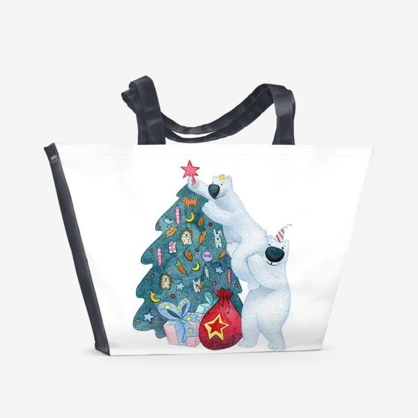 Пляжная сумка « Подготовка к Новому году»