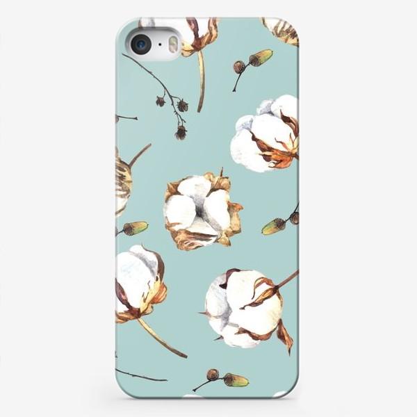 Чехол iPhone «Нежный акварельный паттерн с цветами хлопка»