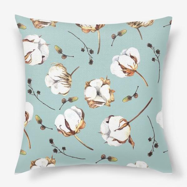 Подушка «Нежный акварельный паттерн с цветами хлопка»