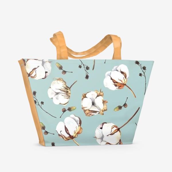 Пляжная сумка «Нежный акварельный паттерн с цветами хлопка»