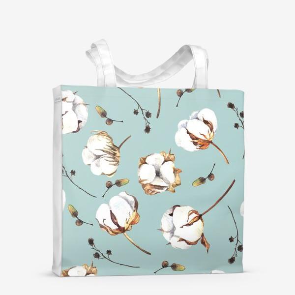 Сумка-шоппер «Нежный акварельный паттерн с цветами хлопка»
