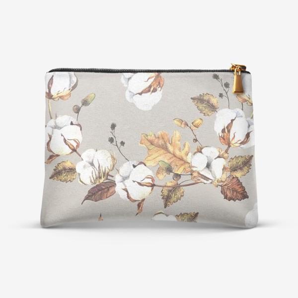 Косметичка «Акварельный паттерн с цветами хлопка и листьями»