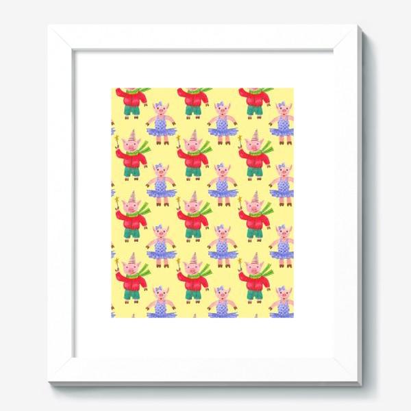 Картина «Поросятки на карнавале жёлтый фон»