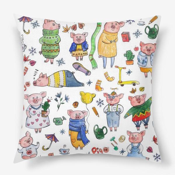 Подушка «Поросята. Паттерн со свиньями.»
