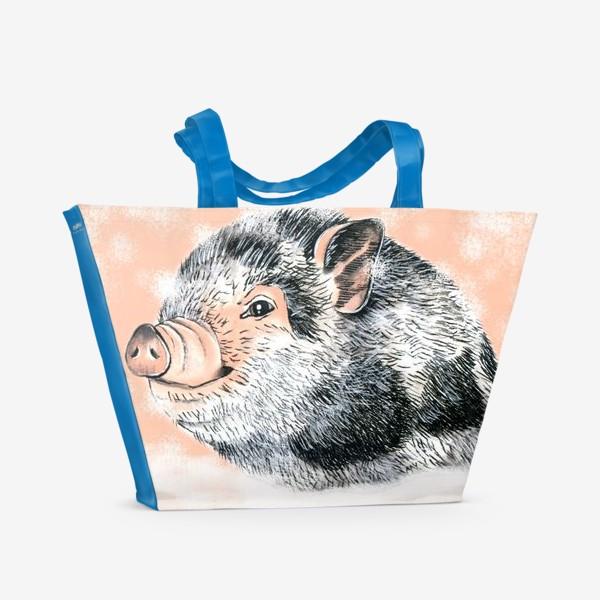 Пляжная сумка «Поросенок Хрюша Свинья Новый год 2019»