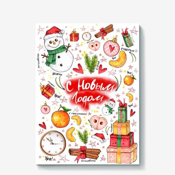 Холст «Новый год свиньи. Пятачок, подарки, часы, снеговик   »