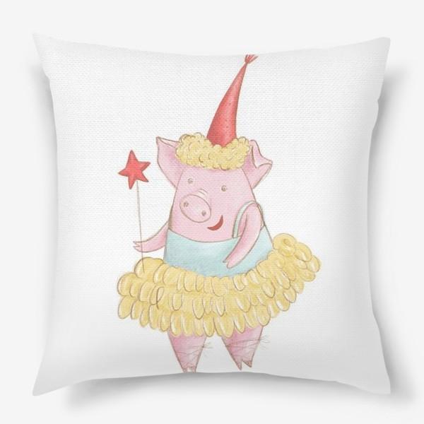 Подушка «Поросёнок в юбке и со звездой»
