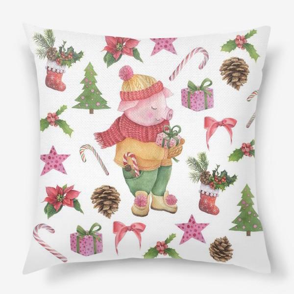 Подушка «Хрюшка с подарком для тебя!»