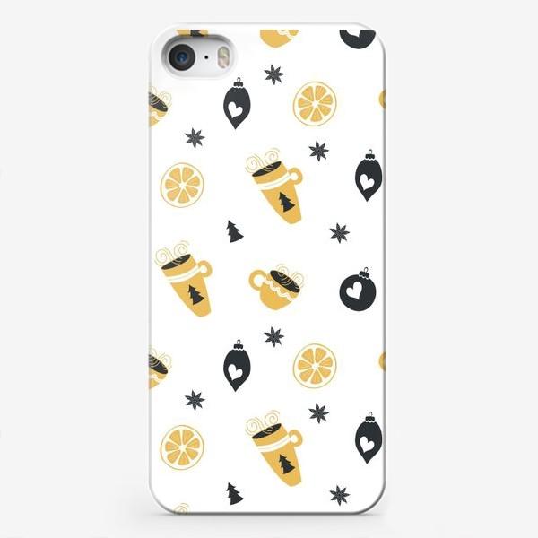 Чехол iPhone «Елочные украшения, чашки горячего кофе и лимоны. Бесшовный узор»