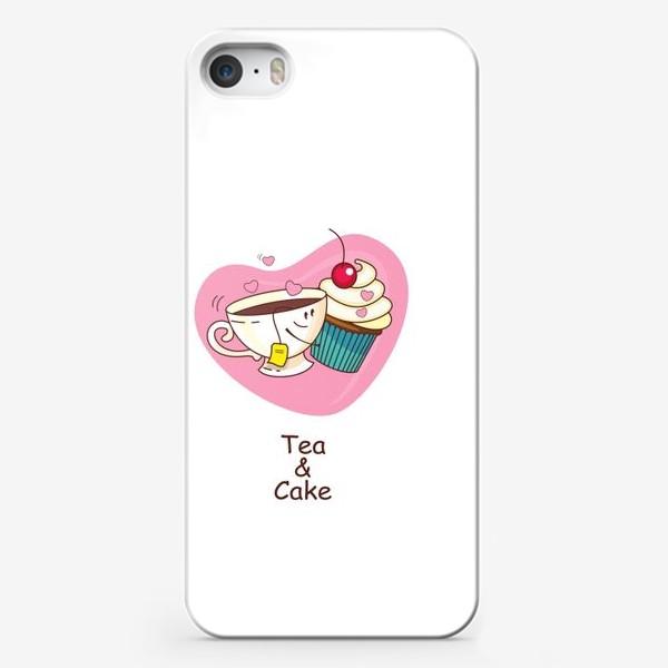Чехол iPhone «Чай и пирожное. Настоящая любовь. Иллюстрация ко дню Святого Валентина.»