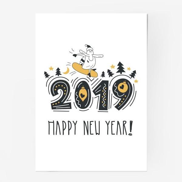 Постер «С новым 2019 годом. Поздравительный постер. Веселый Санта с сноуборде.»