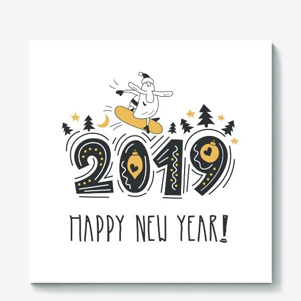 Холст «С новым 2019 годом. Поздравительный постер. Веселый Санта с сноуборде.»