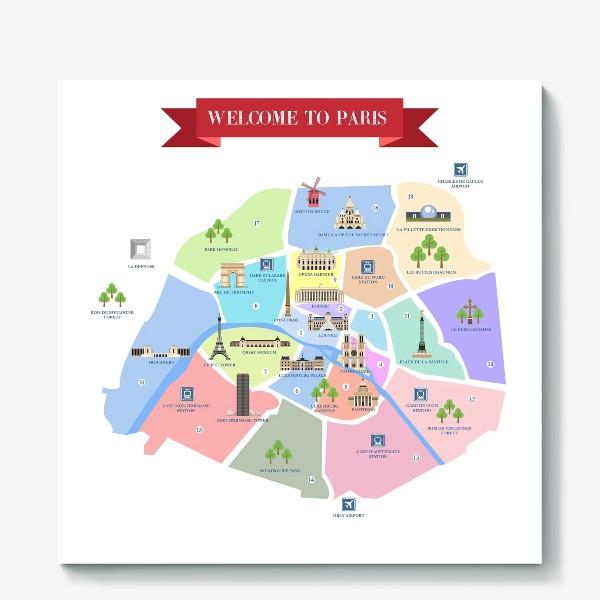 Холст «Детальная карта Парижа с достопримечательностями. Постер.»