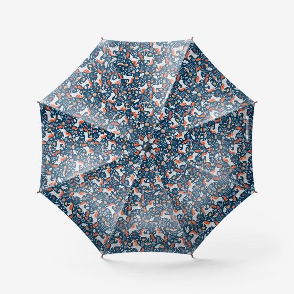 Зонт «Единороги, зайчики, птицы, птицы. Декоративный паттерн на синем фоне. »