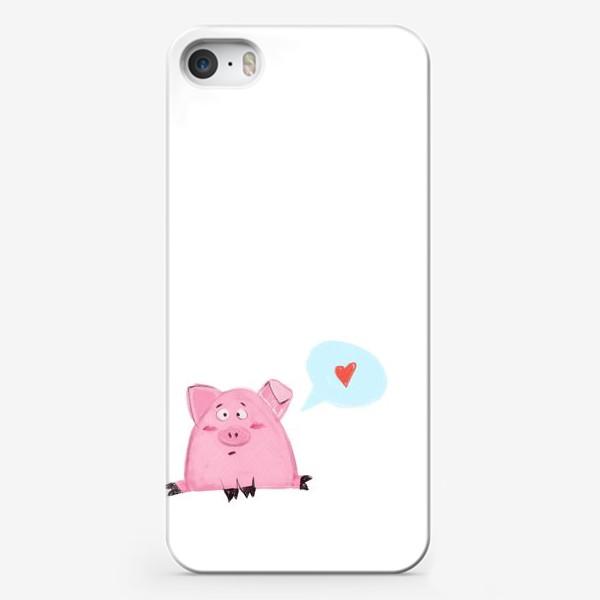 Чехол iPhone «Свинка думает о любви»