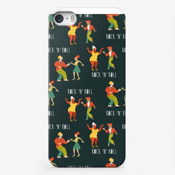 Чехол iPhone «Рок-н-ролл. Ретро иллюстрация. Бесшовный паттерн, танцующие люди на черном фоне»