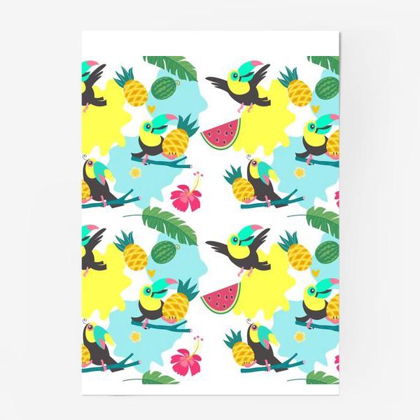 Постер «Тропический фон, милые туканы, экзотические цветы и фрукты»