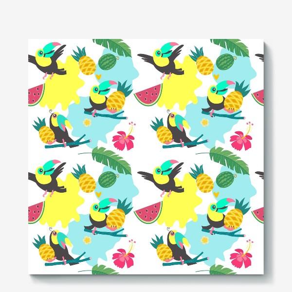 Холст «Тропический фон, милые туканы, экзотические цветы и фрукты»