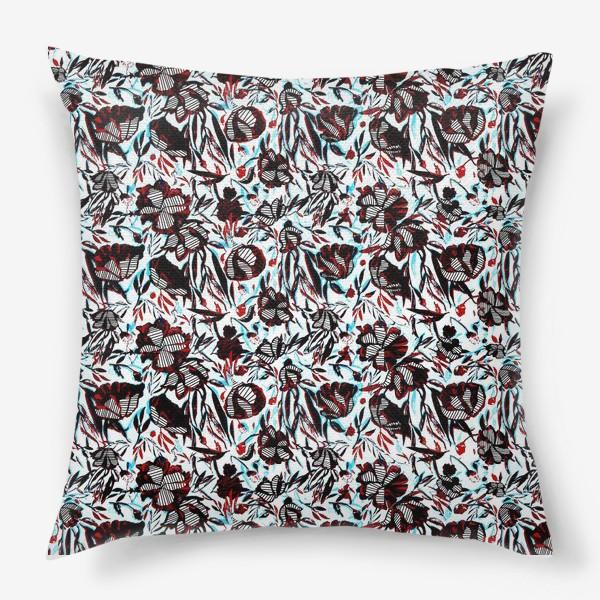 Подушка «Цветы паттерн голубой розовый белый черный»