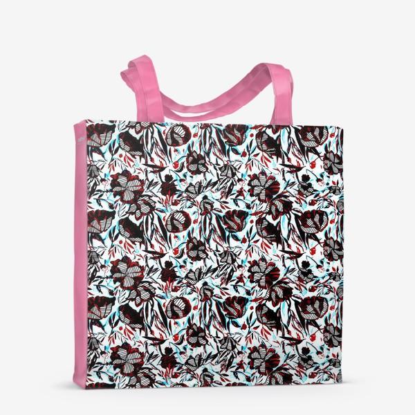 Сумка-шоппер «Цветы паттерн голубой розовый белый черный»
